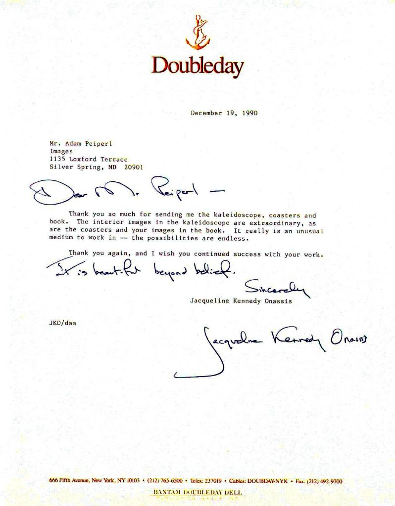 Jacqueline Kennedy Onassis letter