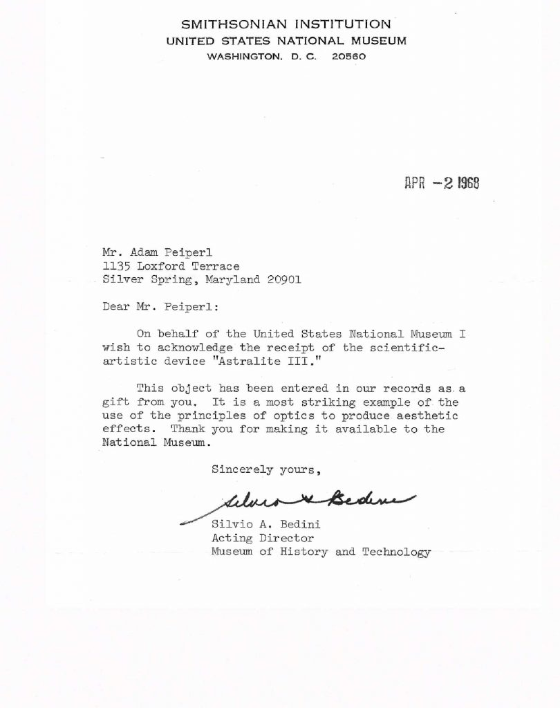 Smithsonian letter