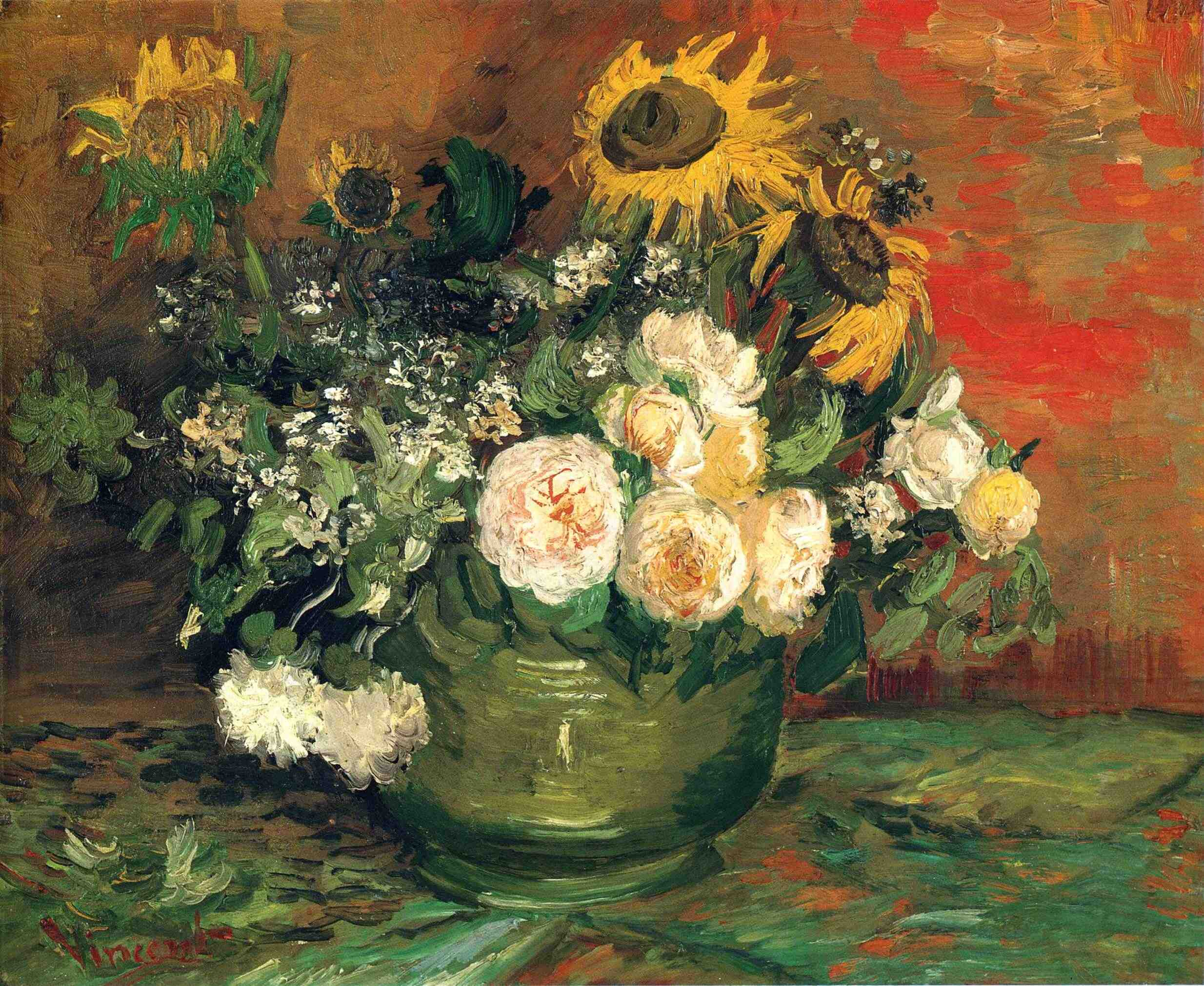 Van Gogh, Roses and Sunflowers
