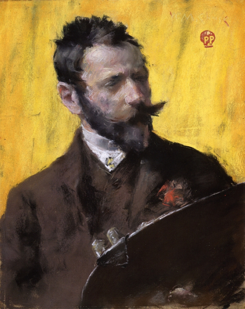 William Merritt Chase, Portrait of the Artist (Self-Portrait), c. 1884, pastel on paper, Private Collection