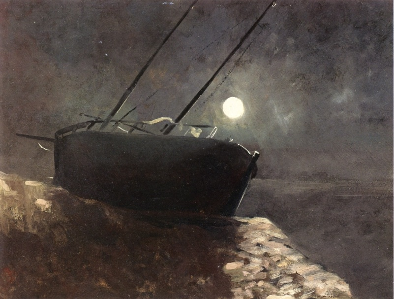 Odilon Redon, Boat in the Moonlight, n.d., oil on panel, Private Collection