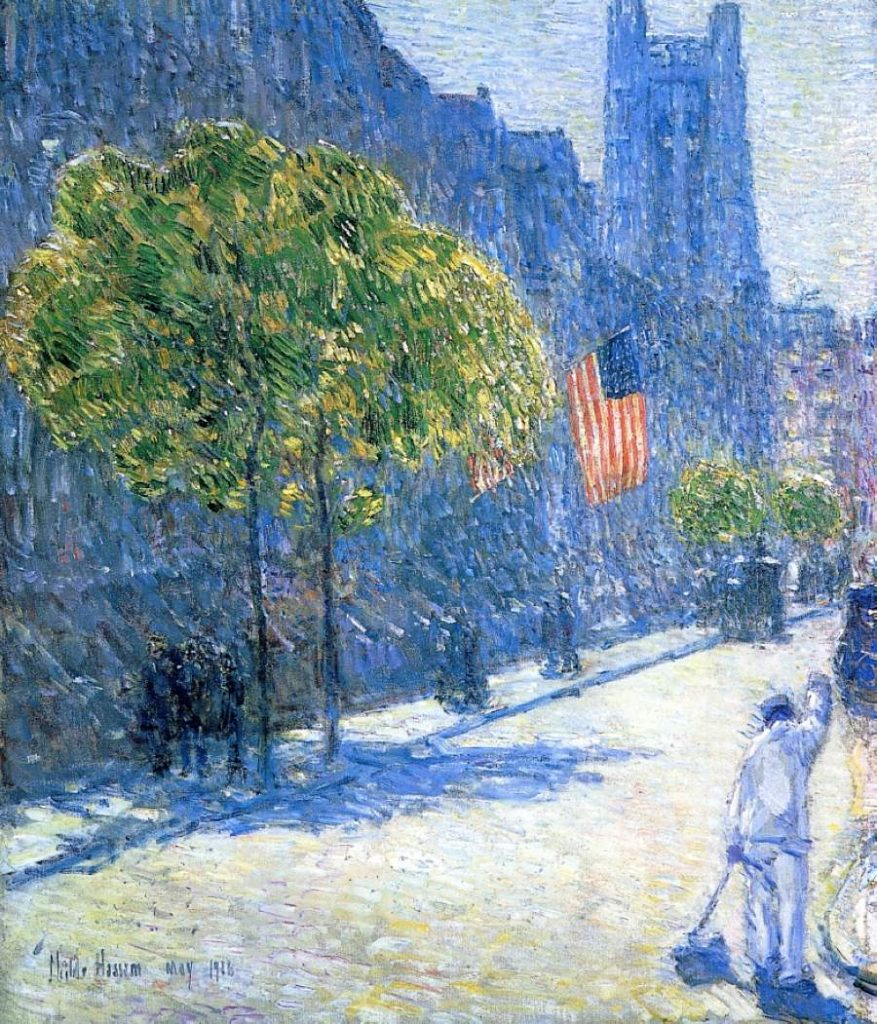 Childe Hassam, Just Off the Avenue, Fifty Third Street, 1916, oil on canvas, Private Collection