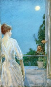 Childe Hassam, On the Balcony, 1888, pastel, Private Collection