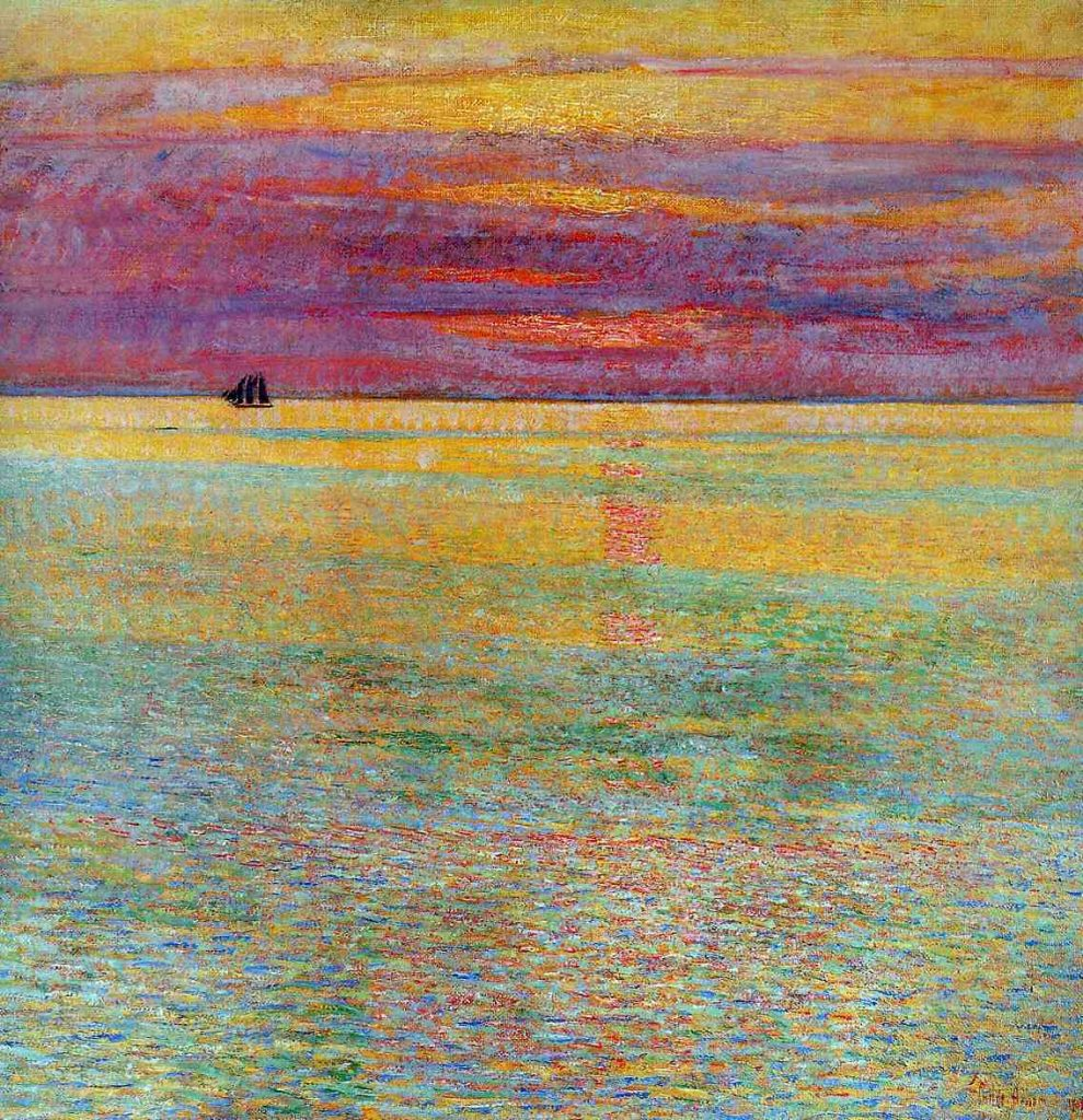 Chillde Hassam, Sunset at Sea, 1911, oil on canvas, Private Collection