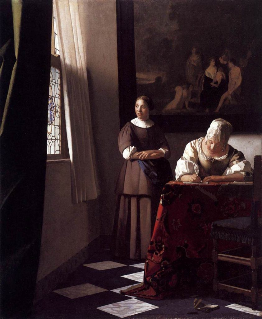 Johannes Vermeer, Lady Writing a Lady with Her Maid, c. 1670, oil on canvas, National Gallery of Ireland, Dublin