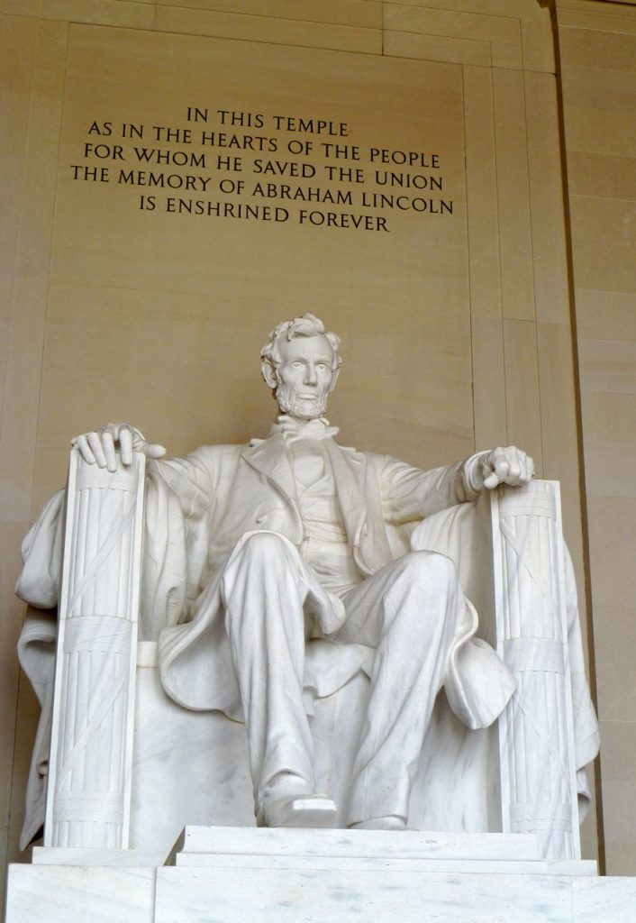 Daniel Chester French, Abraham Lincoln, 1922, marble, Lincoln Memorial, Washington, D.C.