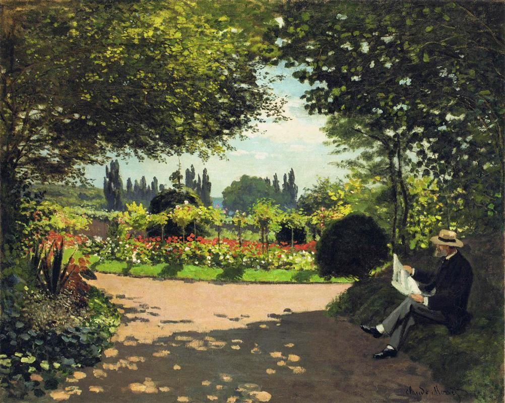 Claude Monet, Adolphe Monet Reading in the Garden,