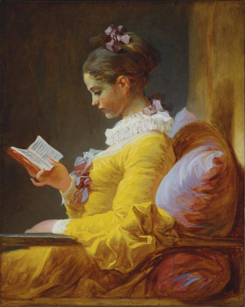 Jean Honore Fragonard, A Young Girl Reading a Book, c. 1776, oil, National Gallery of Art, Washington D.C.
