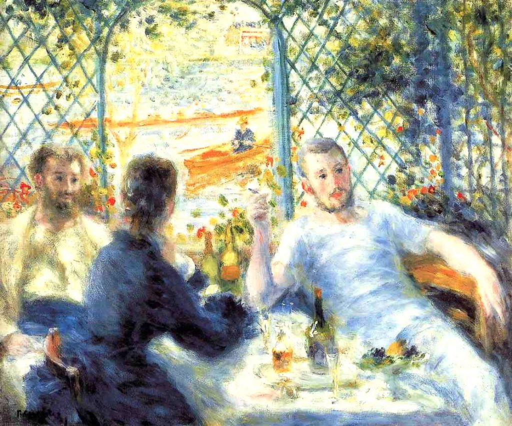 Pierre-Auguste Renoir, Lunch at the Restaurant Fournaise (The Rower's Lunch), 1875, oil on canvas, Art Institute of Chicago, Illinois