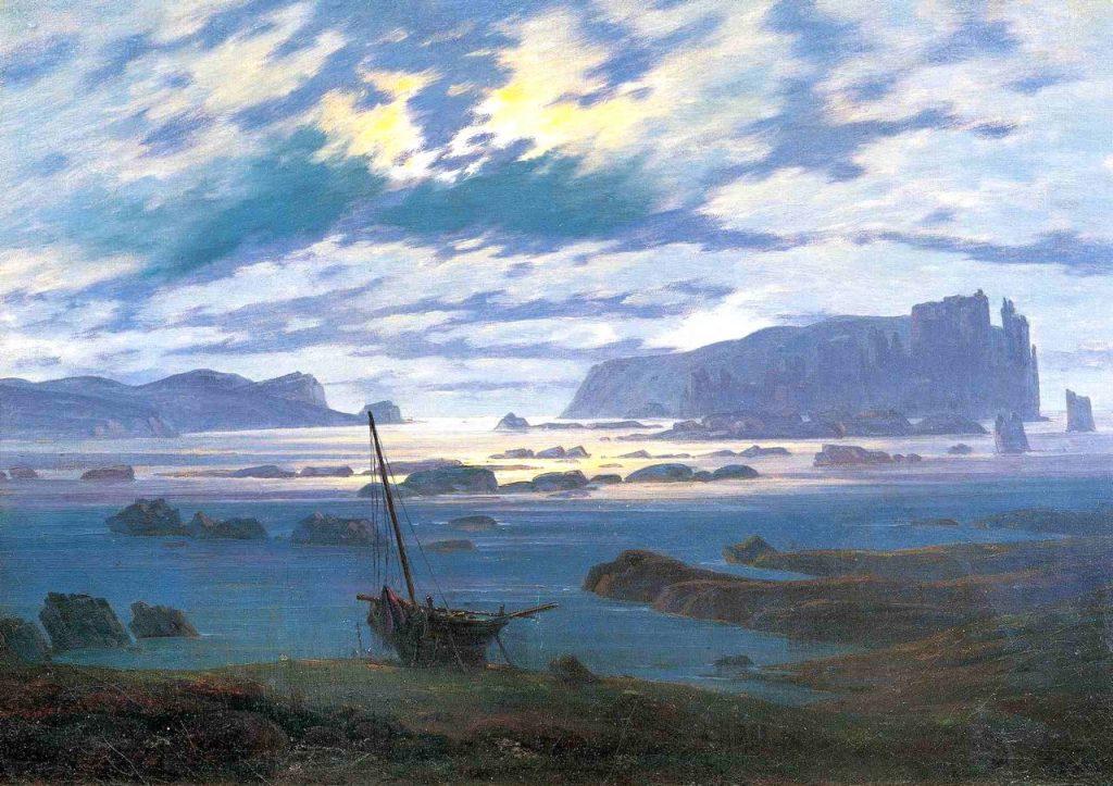 Caspar David Friedrich, Northern Sea in the Moonlight, c. 1823-1824, oil on canvas, National Gallery in Prague, Czech Republic