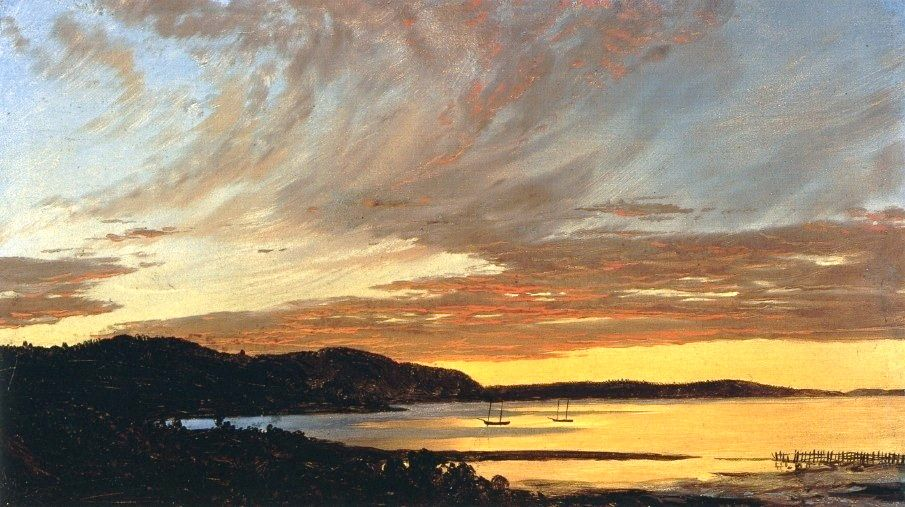 Frederic Church, Sunset, Bar Harbor, 1854, oil on paper mounted on canvas, Olana State Historic Site, Hudson, New York