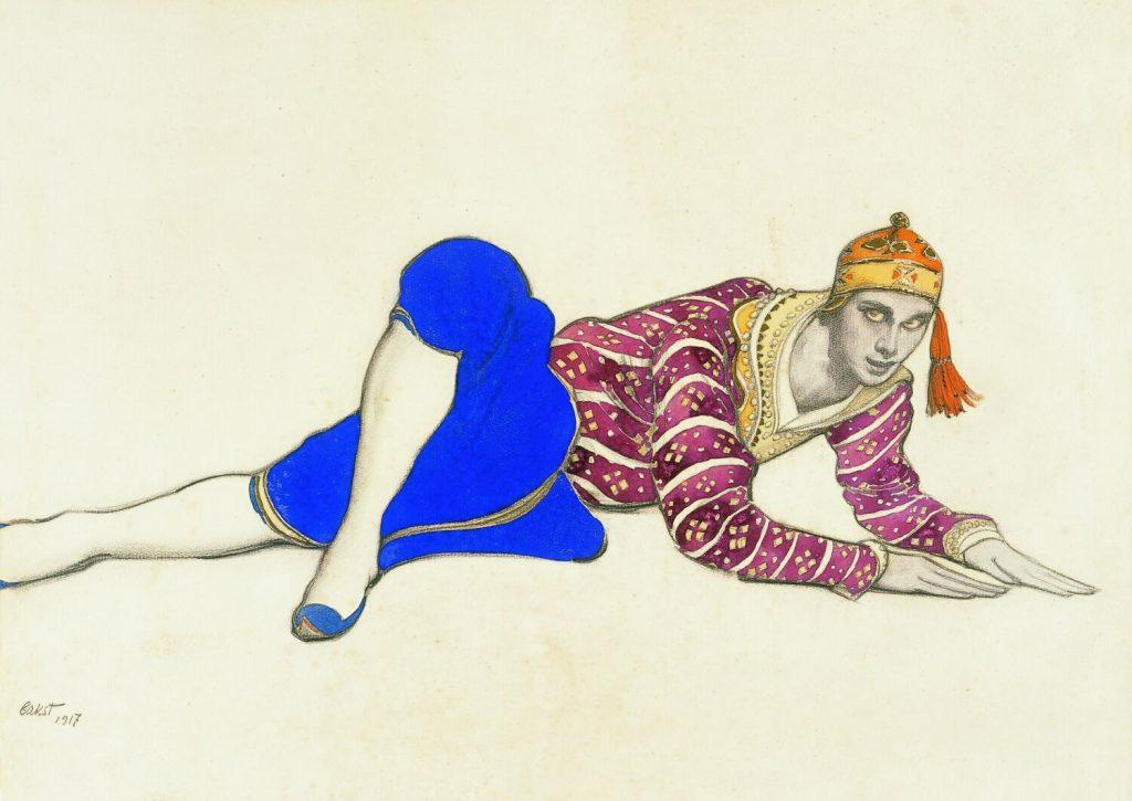 Leon Bakst, Costume deign for Nijinsky as Chinese Dancer in Les Orientales, 1917, watercolor & graphite on paper, McNay Art Museum, San Antonio, Texas