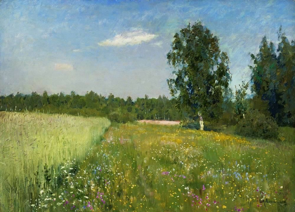 Issac Levitan, A Day in June, detail, c. 1895, oil on canvas, Private Collection