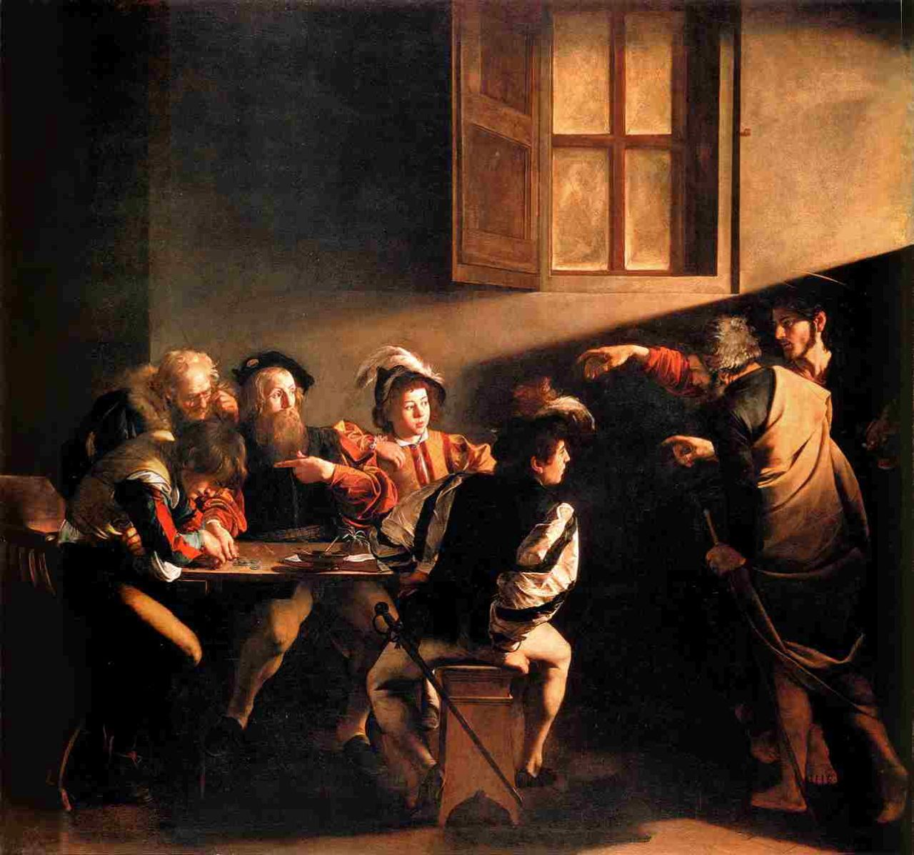 Caravaggio, The Calling of St. Matthew, 1599-1600, oil on canvas, Contarelli Chapel, San Luigi dei Francesi, Rome, Italy