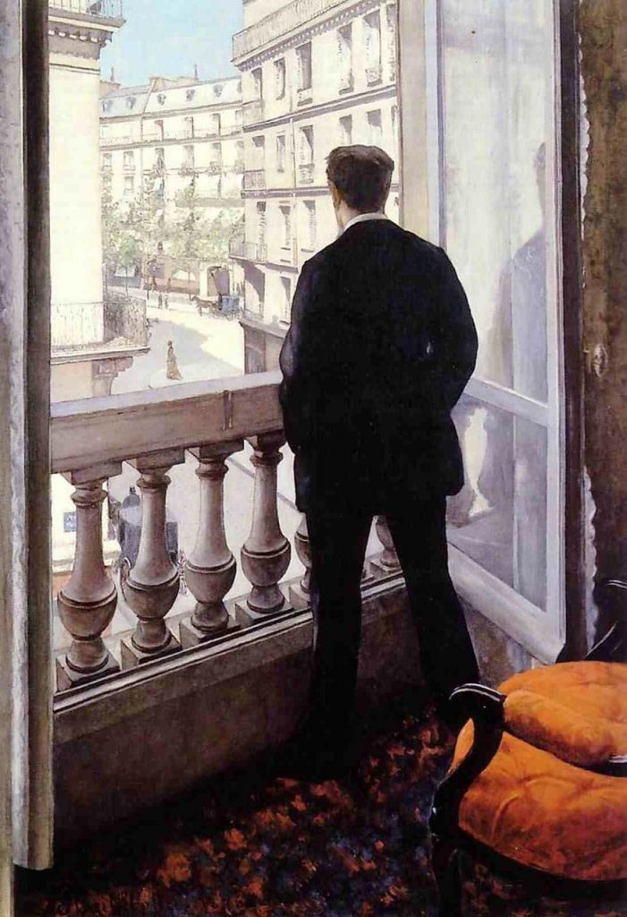 Gustave Caillebotte, Man on a Balcony, Boulevard Haussmann, 1880, oil on canvas, Private Collection