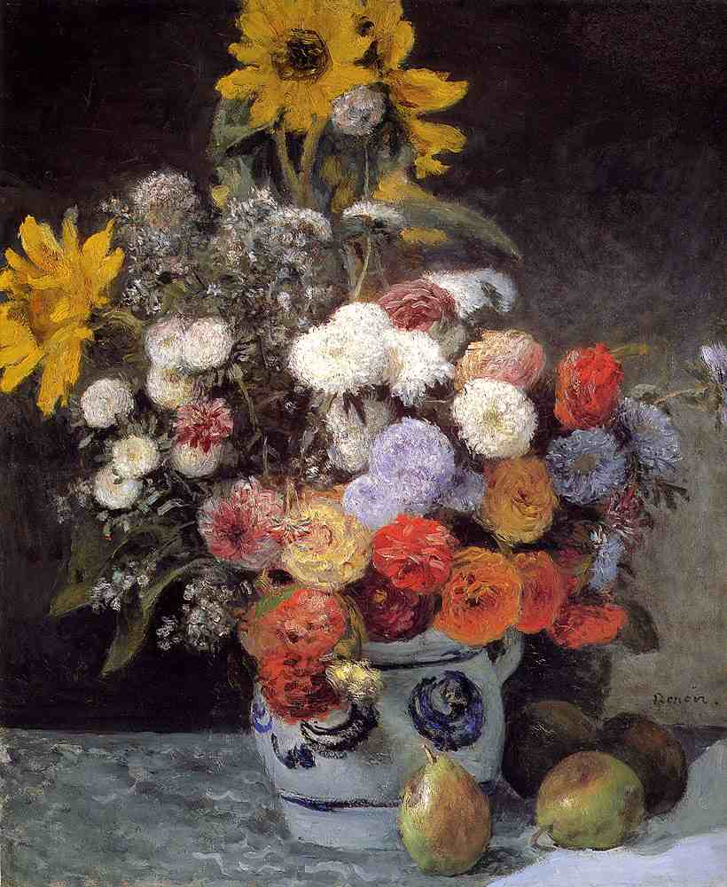 Pierre-Auguste Renoir, Mixed Flowers in an Earthenware Pot, c. 1869, oil on paperboard, mounted on canvas, Museum of Fine Arts, Boston