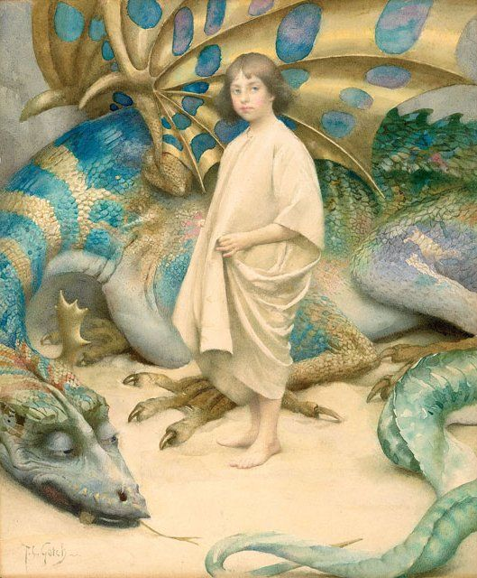 Thomas Cooper Gotch, Innocence, c. 1904, watercolor, probably Private Collection