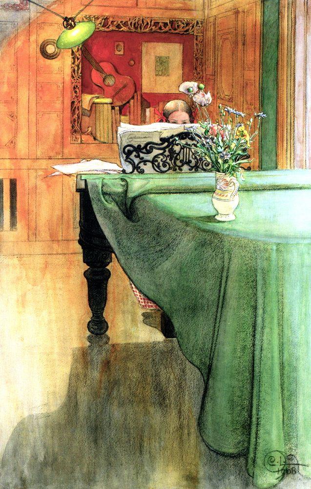 Carl Larsson, Brita at the Piano, 1908, watercolor, location unknown