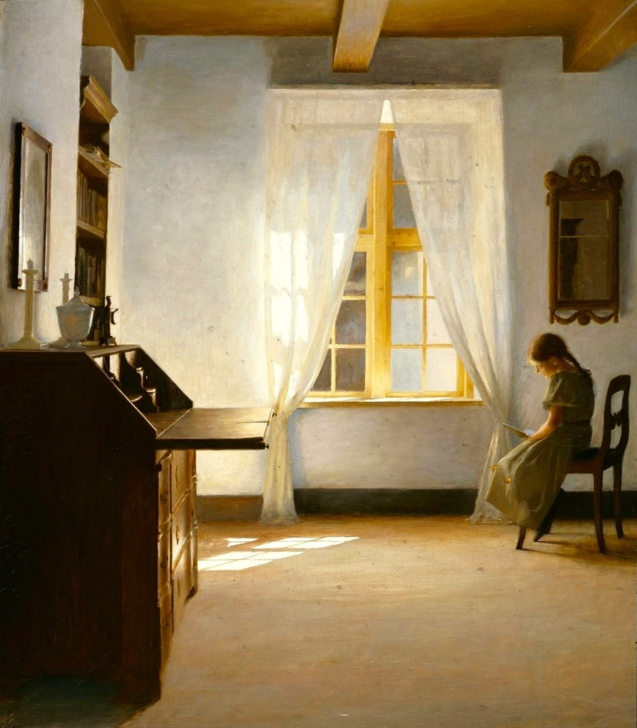 Peter Ilsted, Interior with a Girl Reading, date unknown, oil on canvas, location unknown.