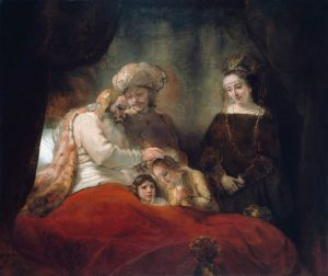 Rembrandt, Jacob Blessing the Sons of Joseph, 1656, oil on canvas, Museumlandschaft, Hessen Kassel, Kassel Hesse, Germany