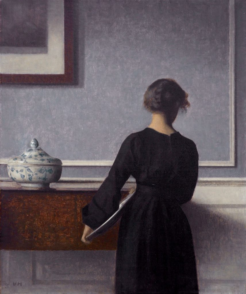 Interior with young woman seen from behind, *oil on canvas *60.5 x 50.5 cm *1903-1904 *signed b.l.: VH