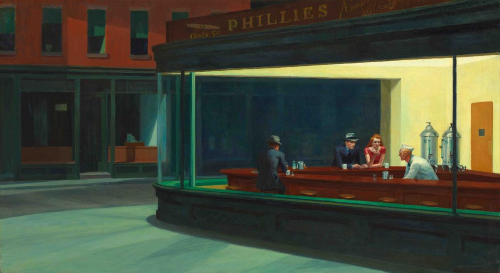 Edward Hopper, Nighthawks, 1942, oil on canvas, The Art Institute of Chicago, Illinois