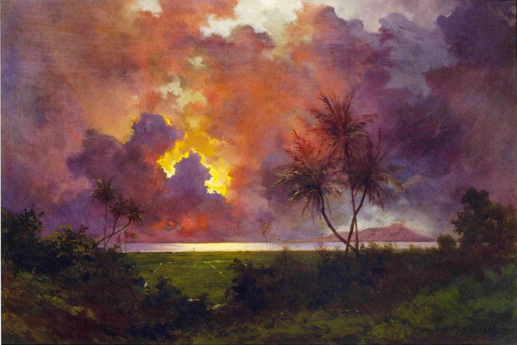 Jules Tavernier, Sunrise over Diamond Head, 1888, detail, oil on canvas, Honolulu Museum of Art, Honolulu, Hawaii