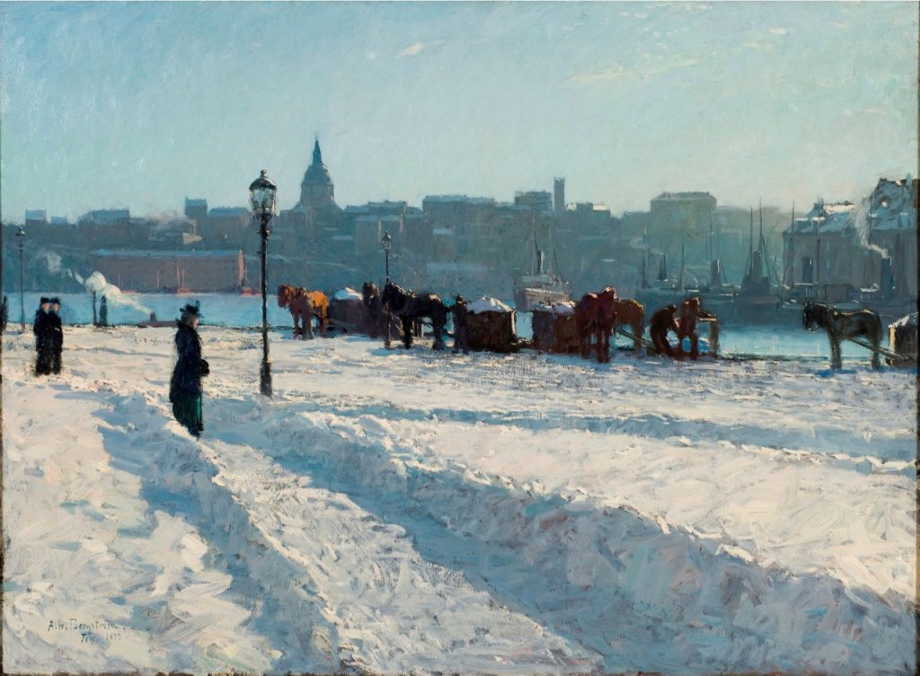 Alfred Bergstrom, Winter Scene from the Stockholm Waterfront, detail, 1899, oil on canvas, Nationalmuseum, Stockholm, Sweden