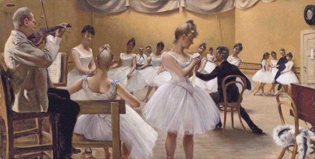 The Royal Theatre Ballet School, Copenhagen. Painting shows violinist
