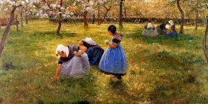 Theodoor Verstraete, Spring in Schoore, detail, 1894, oil on canvas, Musee des Beaux-Artes, Tournai, Belgium