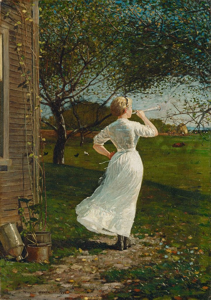 Winslow Homer, The Dinner Horn (Blowing the Horn at Seaside), 1870, oil on canvas, National Gallery of Art, Washington, D.C.
