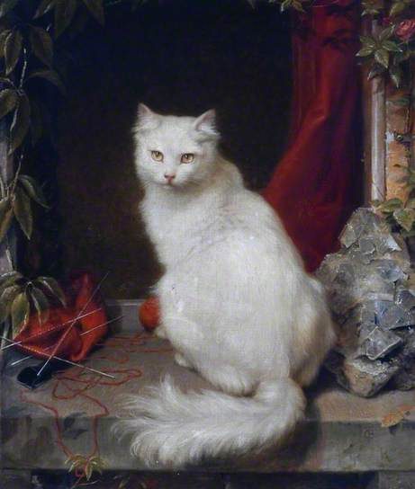 Clement Burlison, The White Cat, date unknown, oil on canvas, Durham County Council, Durham City, UK