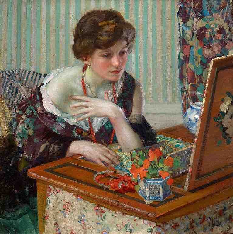 Richard Edward Miller, Scarlet Necklace, 1914, oil on canvas, Private Collection