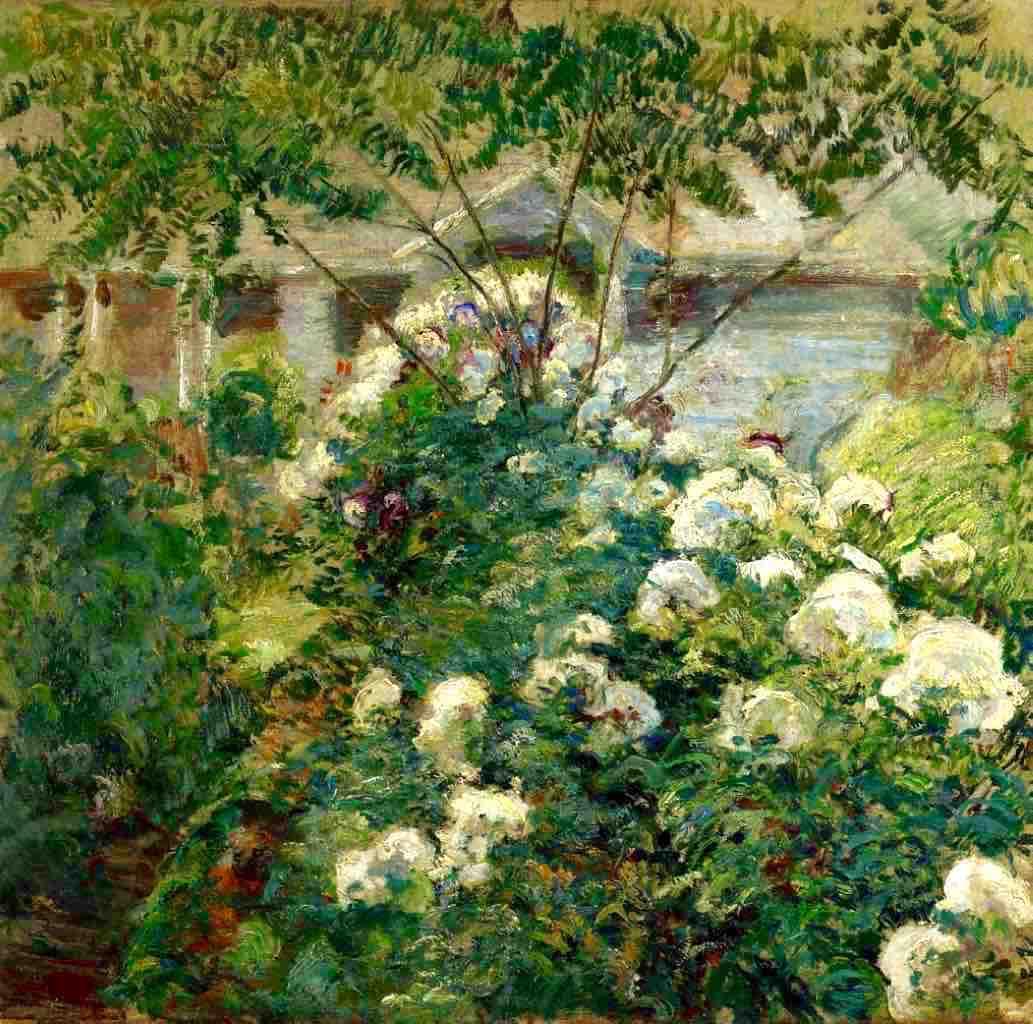 John Henry Twachtman, John Alden Twachtman, Greenwich Gardens, begun late 1890s, oil on canvas, Private Collection