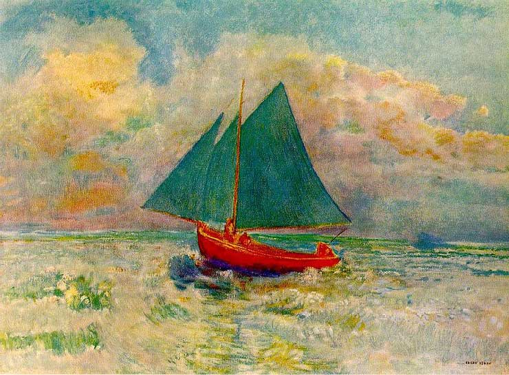 Redon: Red Boat with Blue Sail