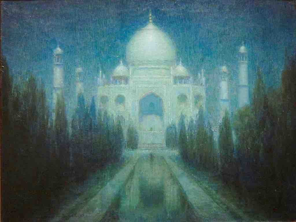 Taj_Mahal_by_Moonlight',_oil_canvas_painting_by_Charles_W._Bartlett (1)
