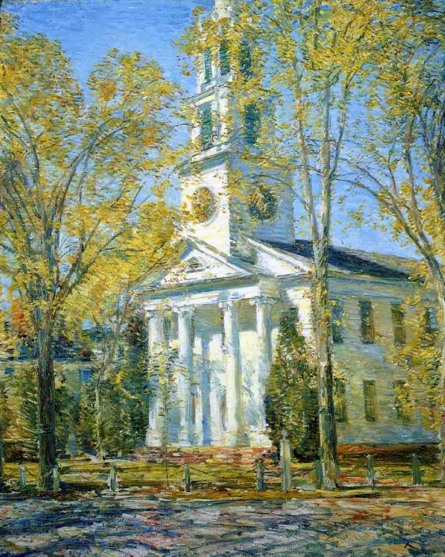 Childe Hassam, Church at Old Lyme, 1906, oil on canvas, Parrish Art Museum, Water Mill, NY