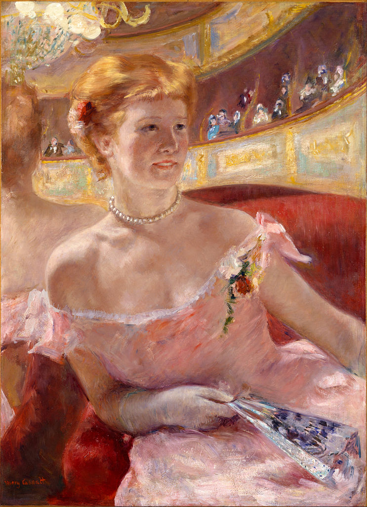 Mary Cassatt, Woman with a Pearl Necklace in a Loge, 1879, oil on canvas, Philadelphia Museum of Art, Philadelphia, PA