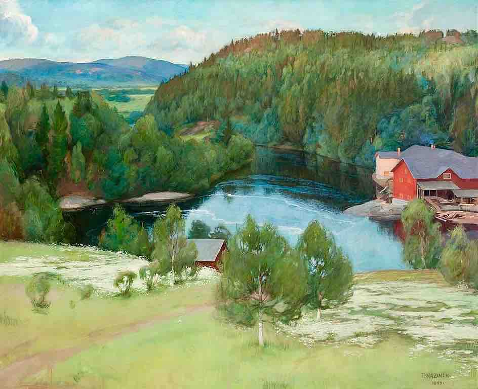 Arts Everyday Living: Autumn in the Finnish Countryside---A Quiet Moment by the Red Sawmill
